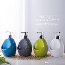 großhandel 500 ml große badezimmer sanitärkeramik handdruck pumpenkopf sanitizer container duschgel lotion flasche küche seifenspender thompson5