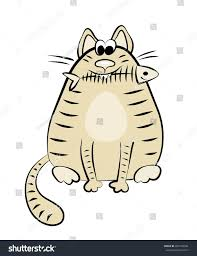 Funny Fat Cat With Eaten Fish Skeleton Cartoon Vector Illustration Isolated