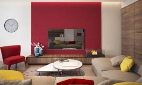 farbe rot feng shui wandfarbe wohnzimmer hinter tv taupe