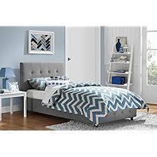 Amazon DHP Platform Bed Rose Linen Tufted Upholstered