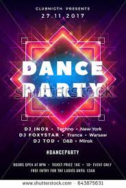 Dance Party Poster Vector Background Template With Triangles And Circles Particles Lines Highlight