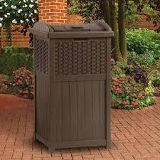Suncast Outdoor Patio Furniture by Suncast Ghw1732 Resin Wicker Garbage Trash Can Hideaway Outdoor