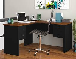 L Shaped Computer Desk Amazon by Amazon Com Bestar Somerville L Shaped Desk Black And Tuscany