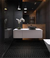 2 black matte porcelain triangle mosaic floor tile bathroom