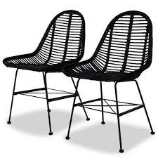 Amazon.com: Tidyard Dining Chairs 2 Pcs Natural Rattan With ...