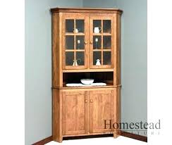 Corner Dining Room Cabinet Hutch With Glass Doors Oak Co