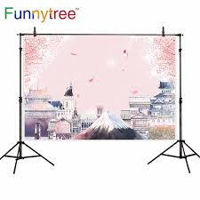 100 Fuji Studio US 945 32 OFFFunnytree Backdrops For Photography Studio Japan Architecture Mount Cherry Blossoms Pink Background Photocall Photoboothin