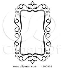 Clipart of a Black and White Ornate Rectangle Swirl Frame 2