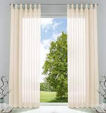 2er pack gardinen transparent vorhang set wohnzimmer voile schlaufenschal mit bleibandabschluß hxb 245x140 cm creme 61000cn