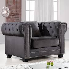 Tufted Velvet Sofa Furniture by Meridian Furniture 614grey C Bowery Grey Tufted Velvet Arm Chair W