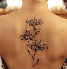 Black And Grey Ink Flowers Tattoo Design For Women Upper Back