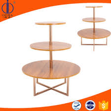 Retail Store 3 Tier Wooden Round Display Table Commercial