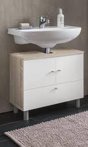 wilmes waschbecken unterschrank 2 trg und 1 klappe farbe sonoma eiche weiß melamin nachbildung maße 60 cm x 54 cm x 32 cm 85003 80 0 75
