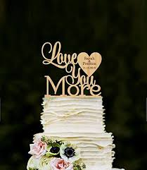 Whitewindow Love You More Wedding Cake Topper Personalized Wood Custom Unique Toppers Rustic