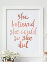 Inspirational Print She Believed Could So Did Quote Printable Rose Gold Motivational Poster Decor