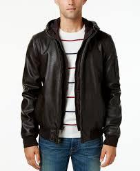 tommy hilfiger big u0026 tall men u0027s hooded faux leather bomber jacket