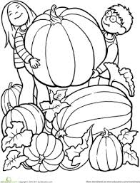 Kindergarten Holidays Seasons Worksheets Giant Pumpkin Coloring Page