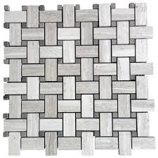 white oak marble basketweave mosaic honed finish floor and wall tile