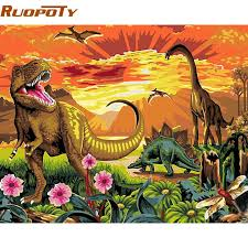 RUOPOTY Acrylic Picture DIY Painting By Numbers Dinosaur Animals Modern Wall Art Handpainted Oil For Unique Matpingz