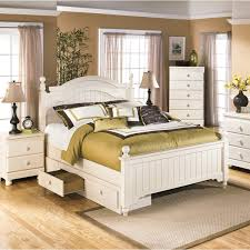 Bedroom Sets With Storage by Ashley Cottage Retreat Cream Poster Bed Set With Under Storage