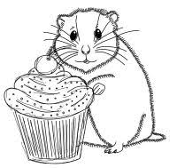 Members Free Hamster Digital Stamp Set With Cupcake Outline