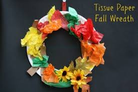 Tissue Paper Plate Fall Wreath