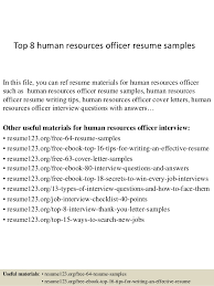 Top 8 Human Resources Officer Resume Samples In This File You Can Ref Materials