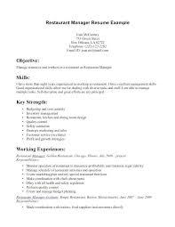 Restaurant Manager Job Description Resume New Server Sample Food