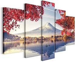 revolio leinwandbild wandbilder wohnzimmer modern kunstdruck wanddekoration deko mehrteilige leinwand bilder 5 teilig typ a 200 x 100 cm bäume see