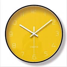 djkaa gelb minimalistische mode metall glas wanduhr
