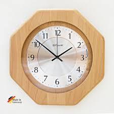 wanduhr funkuhr glas küche wohnzimmer diele flur 29x29x6 cm in buche