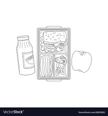 Lunchbox With School Or Work Lunch In Sketch Style