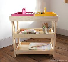 ana white art storage shelf with caddies diy projects