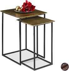 relaxdays satztisch 2er set retro design eckig wohnzimmer metall beistelltisch h 50 5 und 55 5 cm gold schwarz