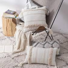 kissenbezug dekorative boho kissenhülle mit spitze für wohnzimmer schlafzimmer balkon sofa decor quaste kissenbezüge weich dekokissenbezug 50