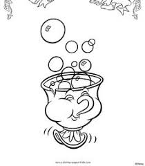 Chip Beauty And The Beast Color Page Disney Coloring Pages Plate