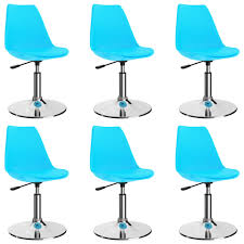 drehbare esszimmerstühle 6 stk blau kunstleder