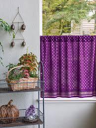 Dark Purple Kitchen Curtain Plum Purple and Gold Tier Curtains