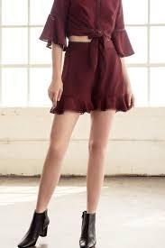 lace trim ruffle shorts j o a