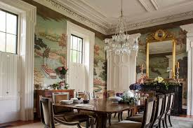 Scenic Wallpaper Dining Room Victorian With Formal Beveled Wall Mirrors