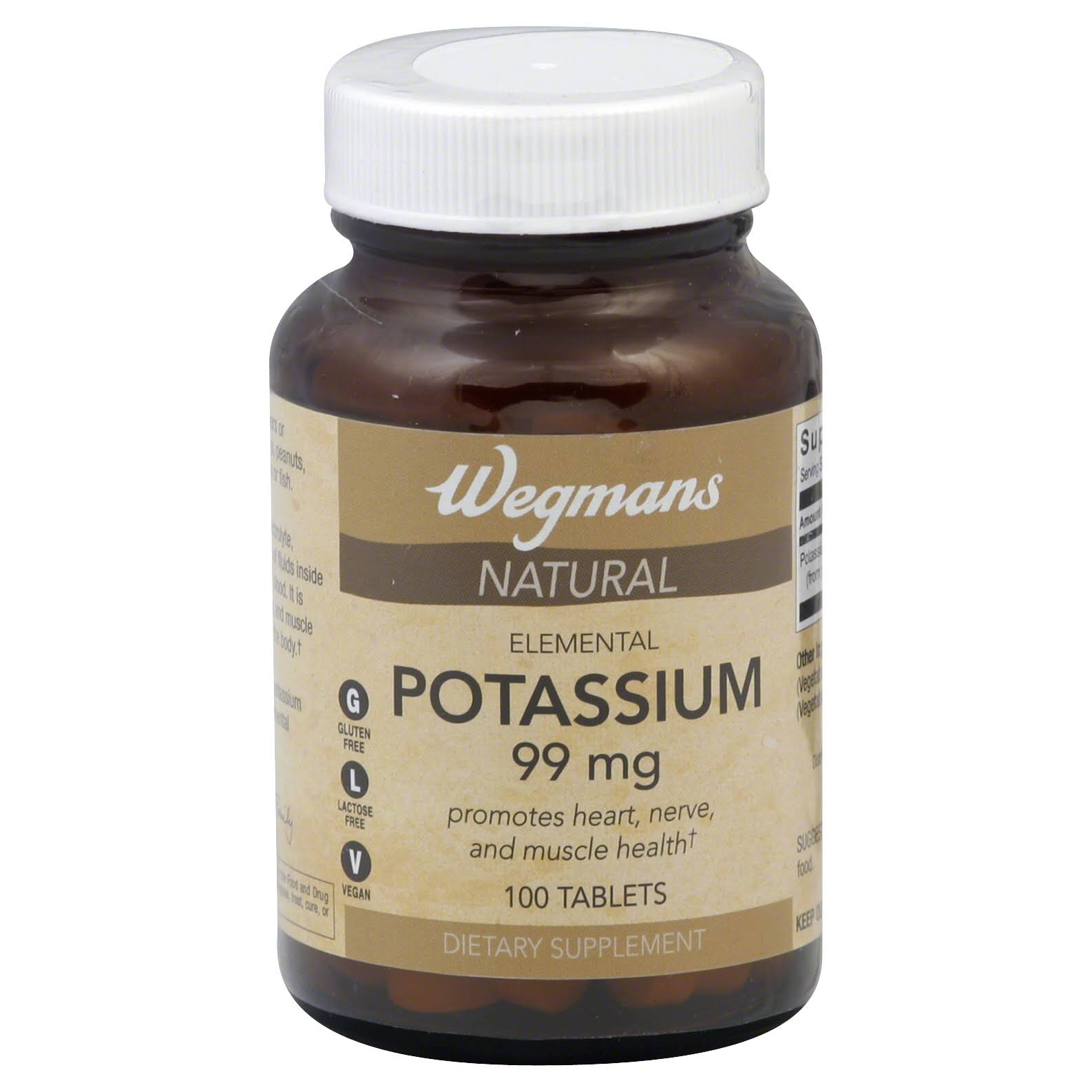 Wegmans Potassium, Natural, 99 mg, Tablets - 100 tablets