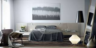 Silver Coated Room With Wooden Floor And Brown Carpet For Contemporary Bedroom Idea