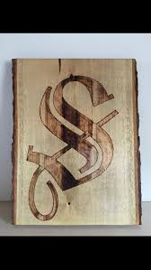 Rustic Old English Wood Burned Monogram Image Show Dimensions On Barked Basswood Customize With Letter Font Style Stain Color