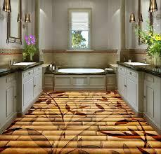 3d bodenbelag dekoration bambus blumen 3d boden pvc selbstklebende tapete badezimmer boden tapete