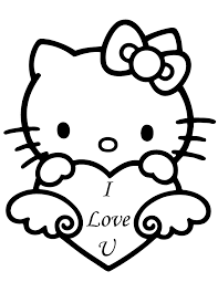 Hello Kitty Valentines Day Coloring Sheets