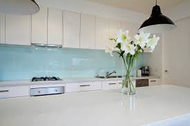 Splashbacks Flowers On Contemporary Kitchen Bench