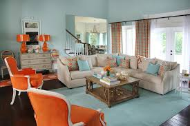 Orange And Aqua Blue Coastal Living Room