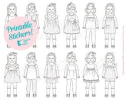 COLORABLE Printable Paper Doll STICKERS