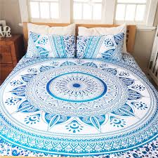 White & Blue King Ombre Medallion Mandala Duvet Cover with Set of