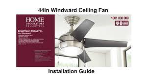Hampton Bay Ceiling Fan Glass Dome by How To Install 44 In Windward Ceiling Fan Youtube
